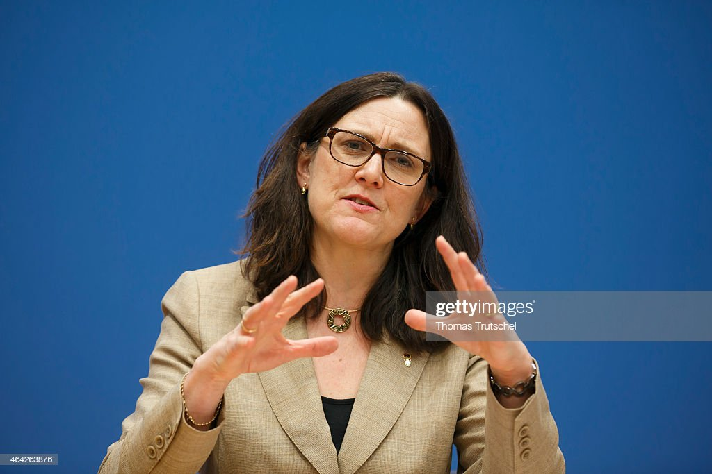 EU-commissioner for trade, <a gi-track='captionPersonalityLinkClicked' href=/galleries/search?phrase=Cecilia+Malmstroem&family=editorial&specificpeople=5934940 ng-click='$event.stopPropagation()'>Cecilia Malmstroem</a> speaks to the media at Bundespressekonferenz on February 23, 2015 in Berlin, Germany.
