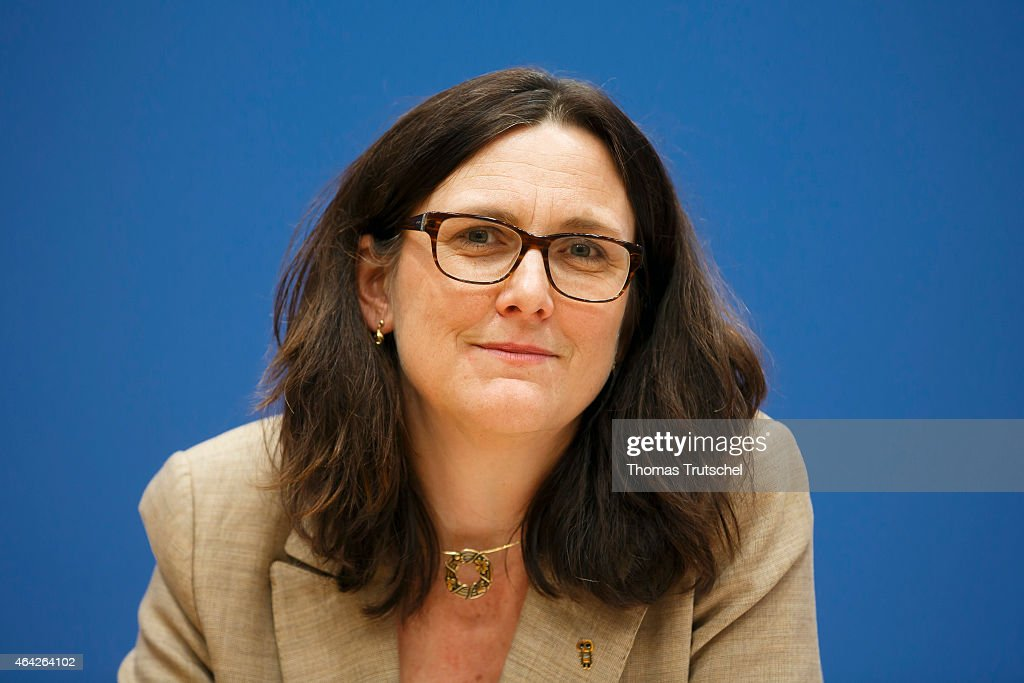 EU-commissioner for trade, Cecilia Malmstroem speaks to the media at Bundespressekonferenz on February 23, 2015 in Berlin, Germany.