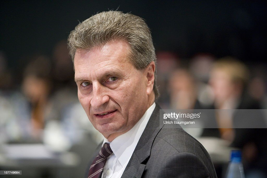 EU-Commissioner Guenther Hermann Oettinger (CDU) at the CDU federal party convention at Messe Hannover on December 4, 2012 in Hanover, Germany. The CDU has a strong lead over its opponents though has recently lost the mayoral posts in several major German cities to opposition parties. Germany faces federal elections in 2013.