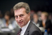Commissioner Guenther Hermann Oettinger at the CDU federal party convention at Messe Hannover on December 4 2012 in Hanover Germany The CDU has a...