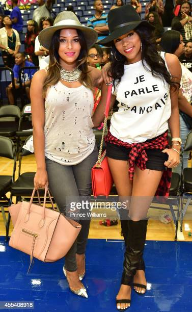 Eudoxie Agnan and Letoya Luckett attend the LUDA vs YMCMB celebrity basketball game at Georgia State University Sports Arena on August 31 2014 in...