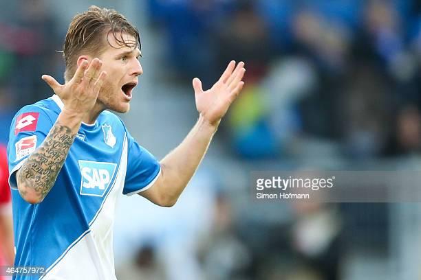 Eugen Polanski of Hoffenheim celebrates his team's second goal during the Bundesliga match between 1899 Hoffenheim and 1 FSV Mainz 05 at Wirsol...