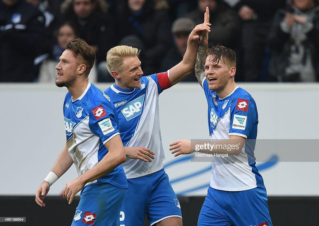 Eugen Polanski of Hoffenheim celebrates with his teammates after scoring his team's second goal during the Bundesliga match between 1899 Hoffenheim...