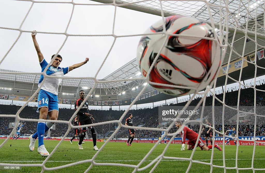 Eugen Polanski of Hoffenheim scores his team's second goal during the Bundesliga match between 1899 Hoffenheim and Hamburger SV at Wirsol...