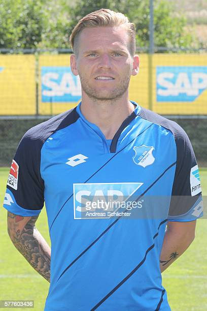 Eugen Polanski poses during the offical team presentation of TSG 1899 Hoffenheim on July 19 2016 in Sinsheim Germany