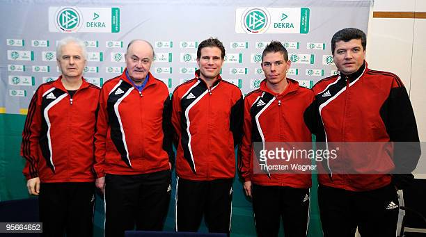 Eugen Striegel head of referee education Volker Roth head of German referees Felix Brych referee Michael Kempter referee and Herbert Fandel trainee...
