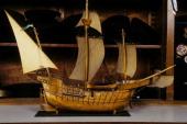 Eugene Benic and his sailboats models In Saint Malo France On May 07 1996 The Santa Maria