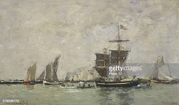 Eugene Boudin French school Sailships and boats in the harbor of Trouville 18651867 Oil on canvas Private collection