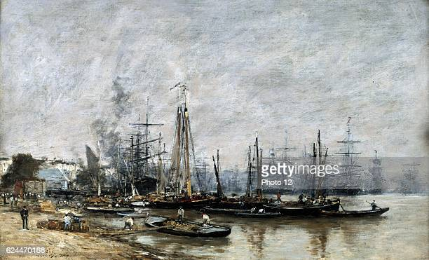 Eugene Boudin French school The Port of Bordeaux Oil on canvas
