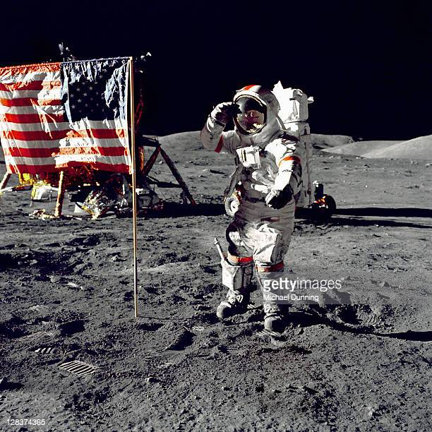 Eugene Cernan salutes American Flag during Apollo 17 mission