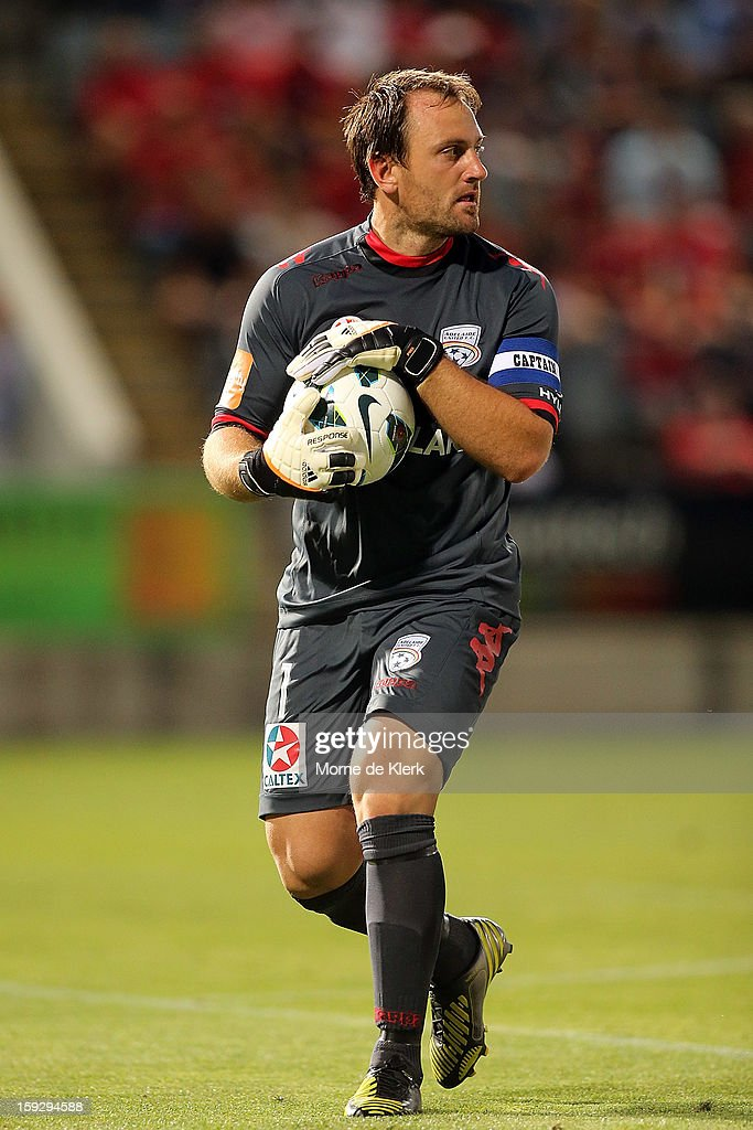 Eugene Galekovic of Adelaide holds the ball after making a save during the round 16 A-League match between Adelaide United and the Perth Glory at Hindmarsh Stadium on January 11, 2013 in Adelaide, Australia.