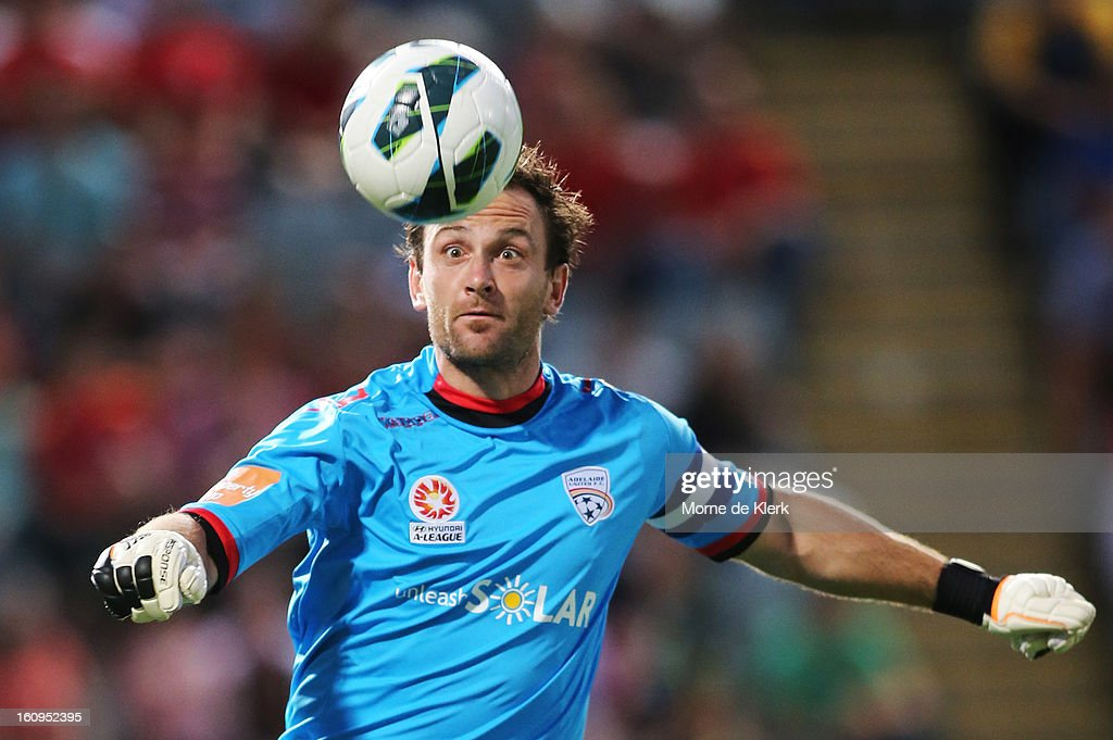 Eugene Galekovic of Adelaide keeps his eye on the ball during the round 20 A-League match between Adelaide United and the Melbourne Victory at Hindmarsh Stadium on February 8, 2013 in Adelaide, Australia.