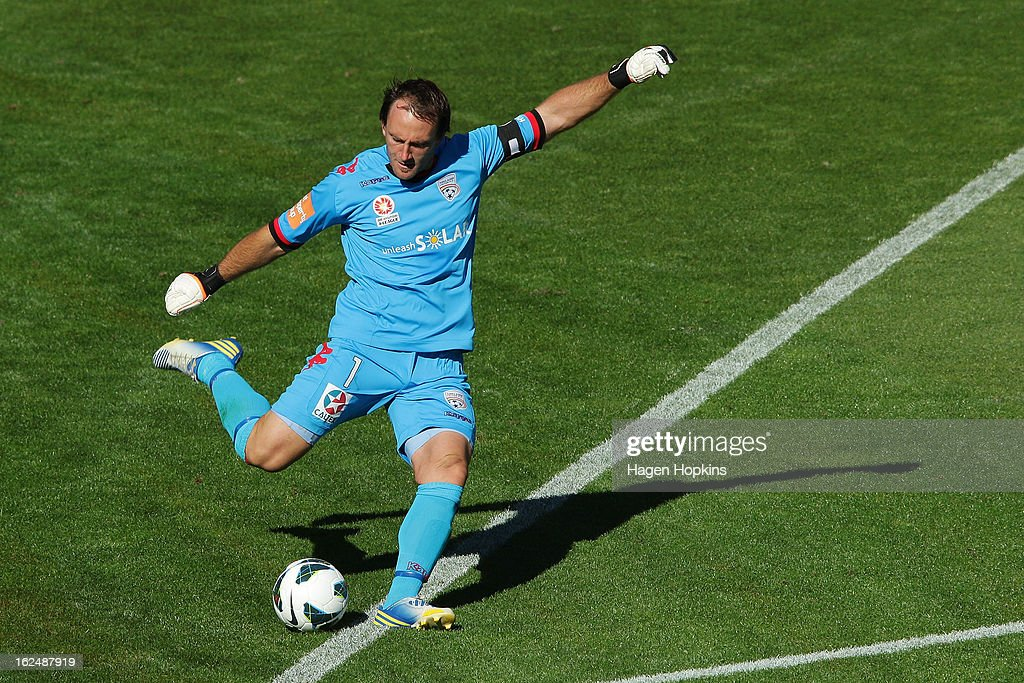 Eugene Galekovic of Adelaide kicks during the round 22 A-League match between the Wellington Phoenix and Adelaide United at Westpac Stadium on February 24, 2013 in Wellington, New Zealand.
