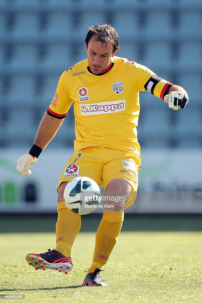 Eugene Galekovic of Adelaide kicks the ball during the round 23 A-League match between Adelaide United and the Brisbane Roar at Hindmarsh Stadium on March 2, 2013 in Adelaide, Australia.