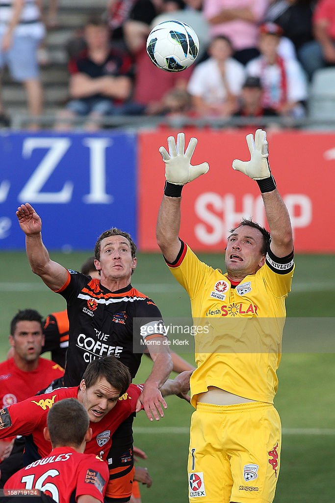 Eugene Galekovic of Adelaide makes a save during the round 13 A-League match between Adelaide United and the Brisbane Roar at Hindmarsh Stadium on December 26, 2012 in Adelaide, Australia.