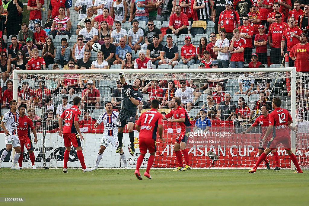 Eugene Galekovic of Adelaide makes a save during the round 16 A-League match between Adelaide United and the Perth Glory at Hindmarsh Stadium on January 11, 2013 in Adelaide, Australia.