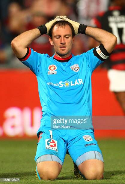 Eugene Galekovic of Adelaide reacts after agoal by Shinji Ono of the Wanderers during the round 12 ALeague match between the Western Sydney Wanderers...