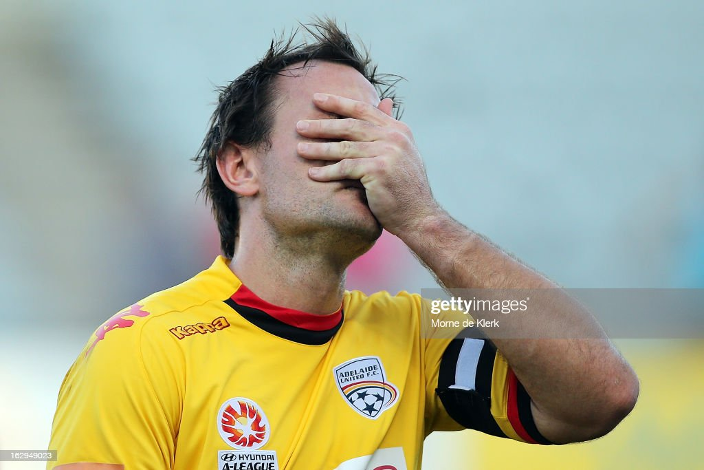 Eugene Galekovic of Adelaide reacts after the round 23 A-League match between Adelaide United and the Brisbane Roar at Hindmarsh Stadium on March 2, 2013 in Adelaide, Australia.
