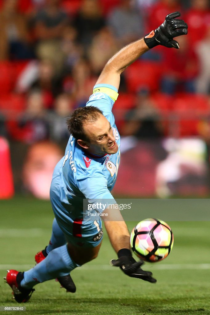 Eugene Galekovic of Adelaide saves a penalty shot on goal during the round 27 A-League match between Adelaide United and the Western Sydney Wanderers at Coopers Stadium on April 15, 2017 in Adelaide, Australia.