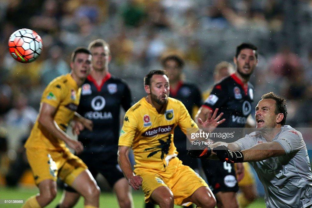 Eugene Galekovic of Adelaide saves a shot at goal during the round 19 A-League match between the Central Coast Mariners and Adelaide United at Central Coast Stadium on February 14, 2016 in Gosford, Australia.