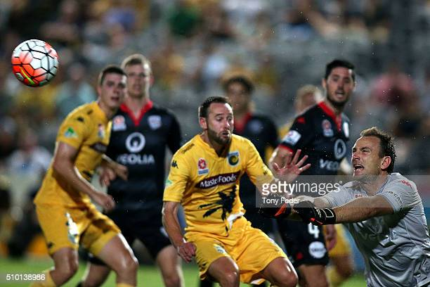 Eugene Galekovic of Adelaide saves a shot at goal during the round 19 ALeague match between the Central Coast Mariners and Adelaide United at Central...