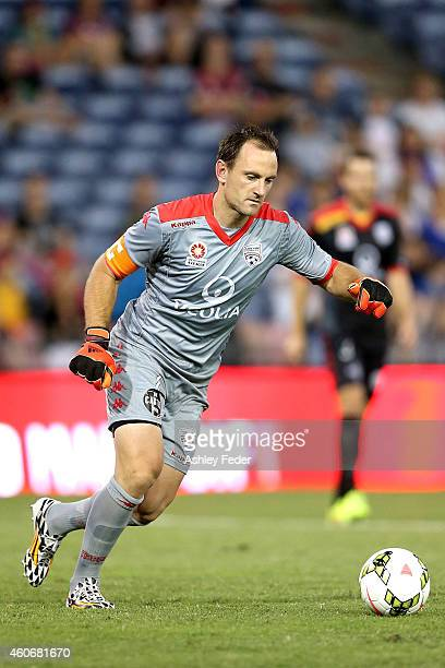 Eugene Galekovic of Adelaide United kicks out from goal during the round 12 ALeague match between the Newcastle Jets and Adelaide United at Hunter...
