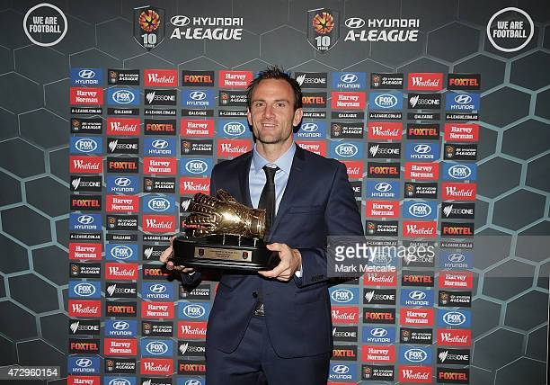 Eugene Galekovic of Adelaide United poses with the Hyundai ALeague Goalkeeper of the Year Award during the ALeague WLeague 2014/15 Awards Night at...