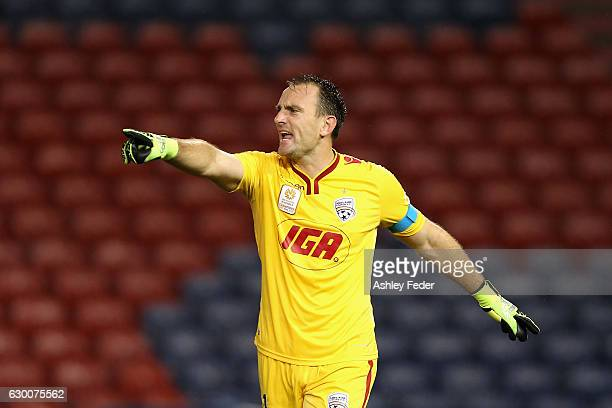 Eugene Galekovic of Adelaide United yells at his team during the round 11 ALeague match between the Newcastle Jets and Adelaide United at McDonald...