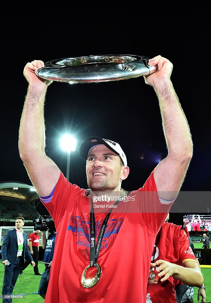 Eugene Galekovic of United holds the trophy up after the 2015/16 A-League Grand Final match between Adelaide United and the Western Sydney Wanderers at Adelaide Oval on May 1, 2016 in Adelaide, Australia.