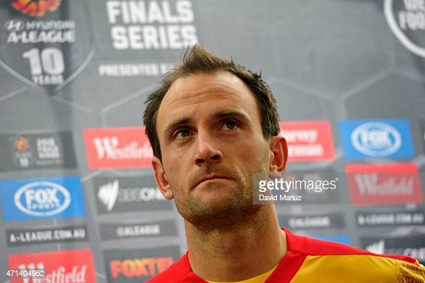 Eugene Galekovic speaks to the media during an Adelaide United ALeague media opportunity at Adelaide Oval on April 28 2015 in Adelaide Australia