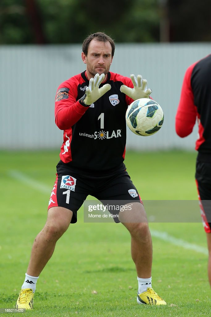 Eugene Galekovic takes a catch during an Adelaide United A-League training session at the South Australian Sports Institute on April 2, 2013 in Adelaide, Australia.