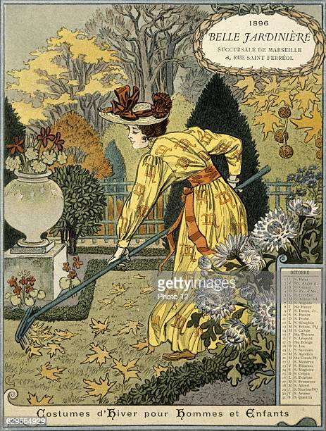 Eugene GrassetFrench schoolCalendar page from La Belle Jardiniere year 1896 the month of OctoberDrawing
