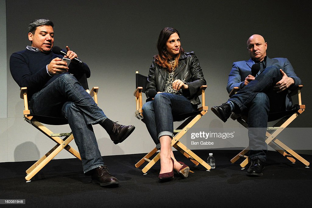 Eugene Hernandez, Lori Silverbush and Chef Tom Colicchio attend Apple Store Soho Presents: Meet The Filmmakers - 'A Place At The Table' at Apple Store Soho on February 18, 2013 in New York City.