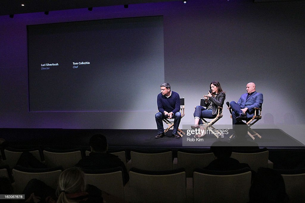 Eugene Hernandez, Lori Silverbush and Tom Colicchio attend Apple Store Soho Presents: Meet The Filmmakers - 'A Place At The Table' at Apple Store Soho on February 18, 2013 in New York City.