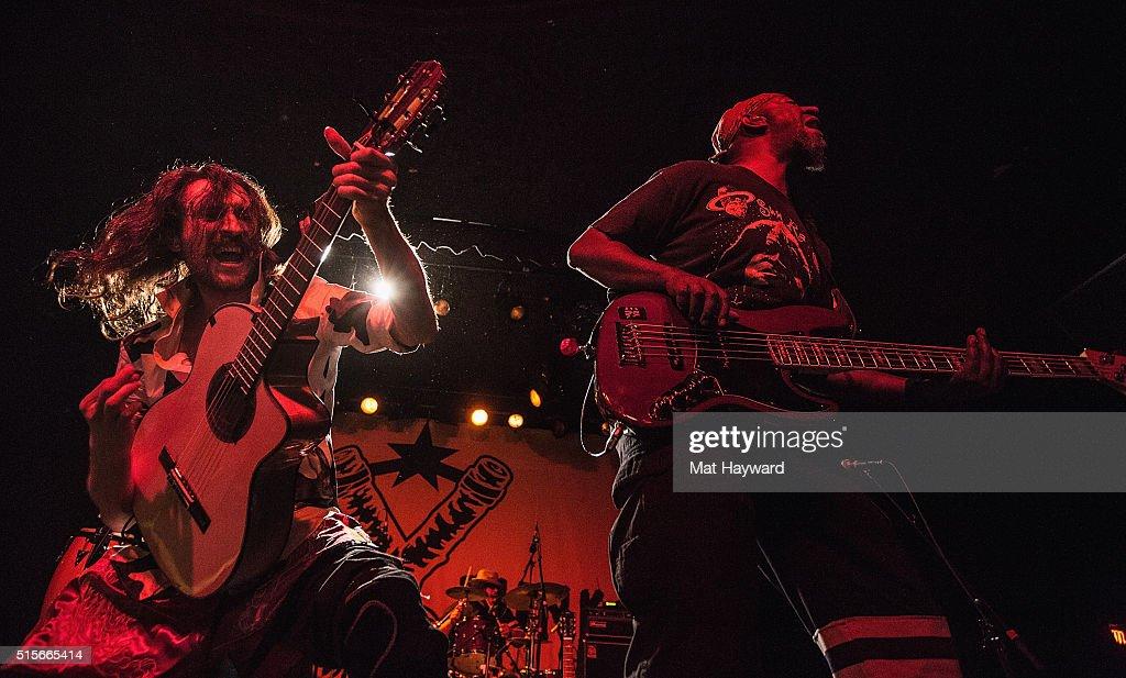 Eugene Hutz (L) and Thomas Gobena of Gogol Bordello perform on stage at The Showbox on March 14, 2016 in Seattle, Washington.