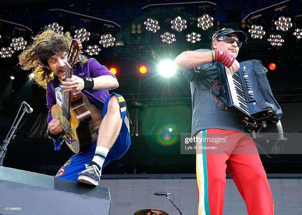 Eugene Hutz and Yuri Lemeshev of Gogol Bordello performs as part of Lollapalooza 2008 at Grant Park on August 1, 2008 in Chicago, Illinois.