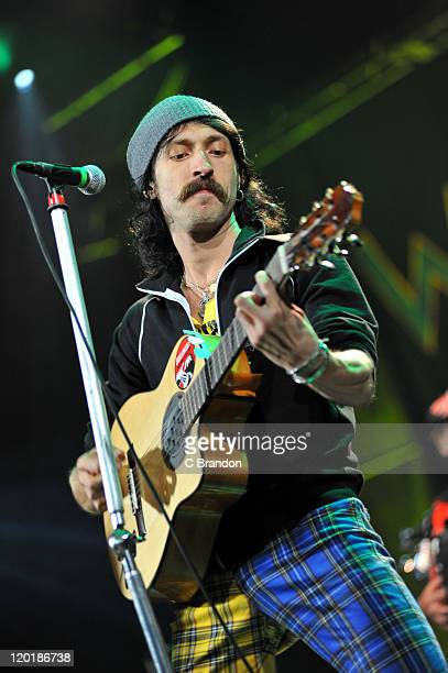 Eugene Hutz of Gogol Bordello headlines on the Open Air Stage during day three of the Womad Festival 2011 at Charlton Park on July 31 2011 near...