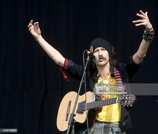 Eugene Hutz of Gogol Bordello live on stage at Reading Festival on August 27 2010