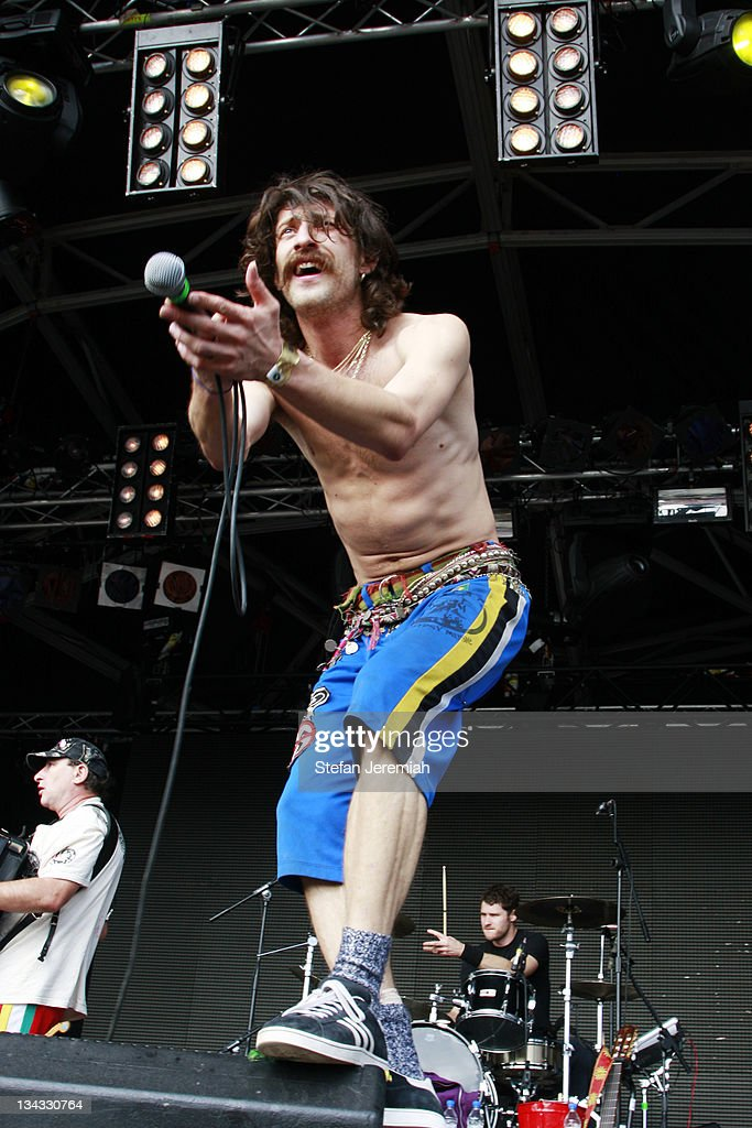 Eugene Hutz of Gogol Bordello performs at Get Loaded in the Park at Clapham Common on August 24, 2008 in London, England.