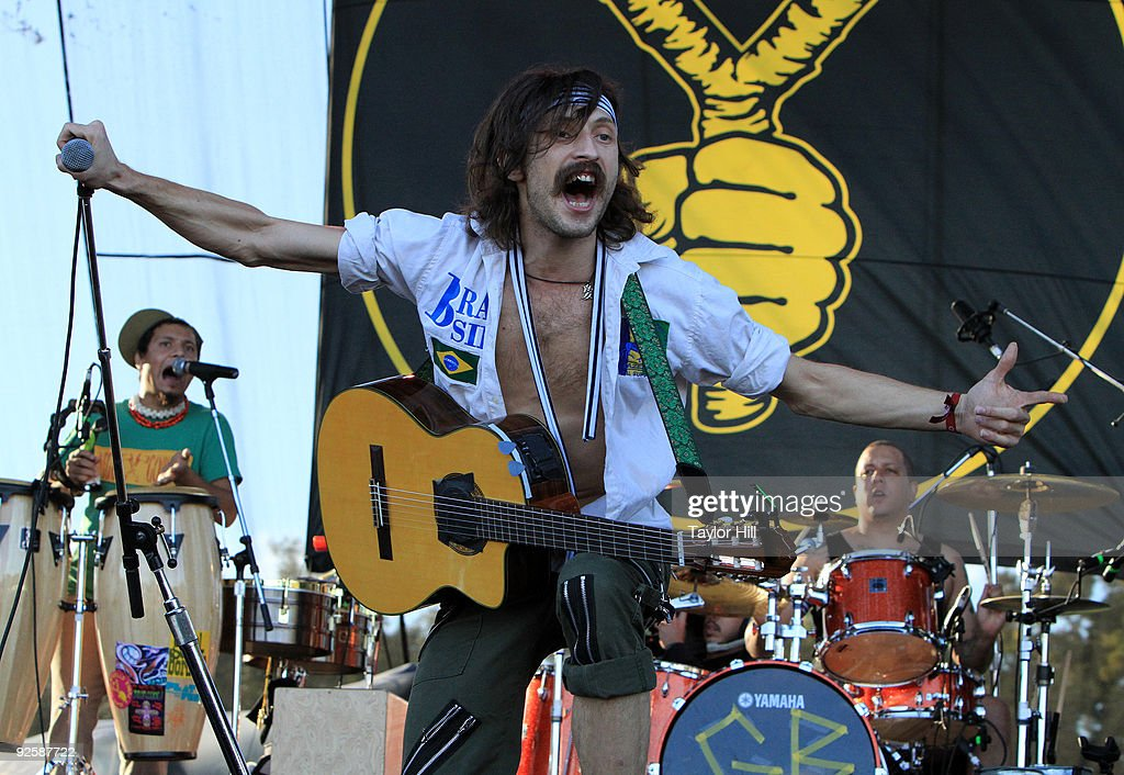 Eugene Hutz of Gogol Bordello performs during the 2009 Voodoo Experience at City Park on October 31, 2009 in New Orleans, Louisiana.