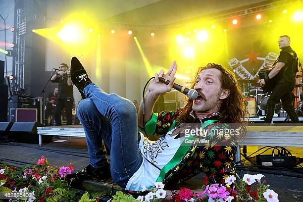 Eugene Hutz of Gogol Bordello performs in concert on day 3 of Lollapalooza at Grant Park on August 2 2015 in Chicago Illinois