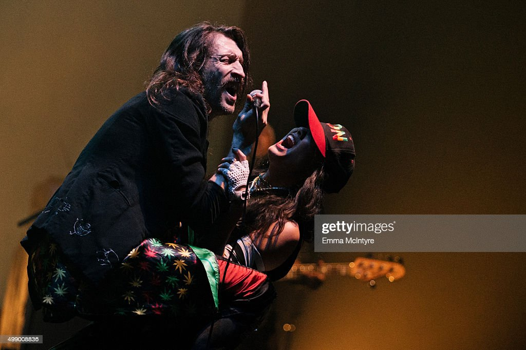 Eugene Hutz of Gogol Bordello performs live at The Wiltern on November 27, 2015 in Los Angeles, California.