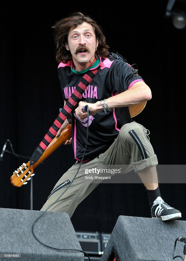 Eugene Hutz of Gogol Bordello performs on stage at Finsbury Park on June 6, 2010 in London, England.