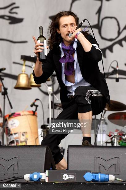 Eugene Hutz of Gogol Bordello performs on stage at the Barclaycard Presents British Summer Time Festival in Hyde Park on July 1 2017 in London England