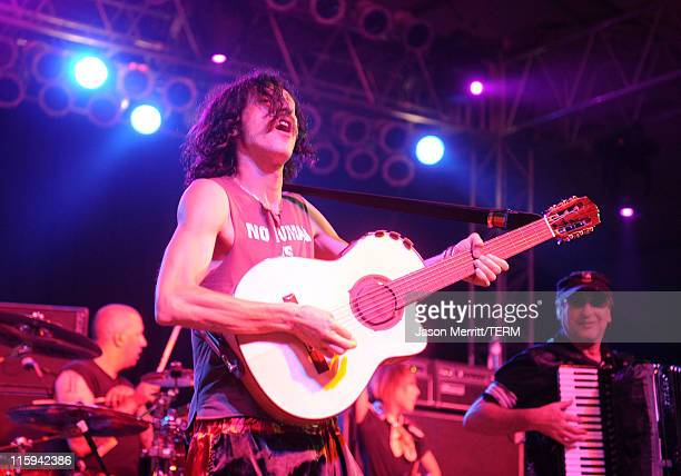 Eugene Hutz of Gogol Bordello performs on stage during Bonnaroo 2011 at The Other Tent on June 11 2011 in Manchester Tennessee