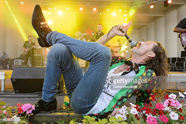 Eugene Hutz of Gogol Bordello performs on stage during Lollapalooza 2015 at Grant Park on August 2 2015 in Chicago United States