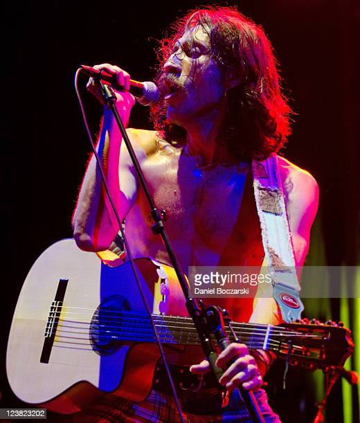 Eugene Hutz of Gogol Bordello performs on stage during North Coast Music Festival at Union Park on September 4 2011 in Chicago United States