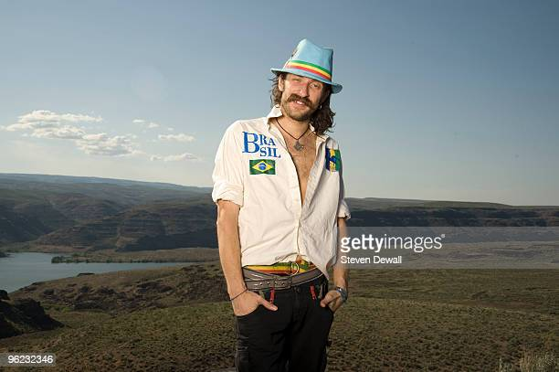 Eugene Hutz of Gogol Bordello poses backstage for a portrait at the Sasquatch Music Festival at Gorge Amphitheatre on May 25th 2009 in George United...