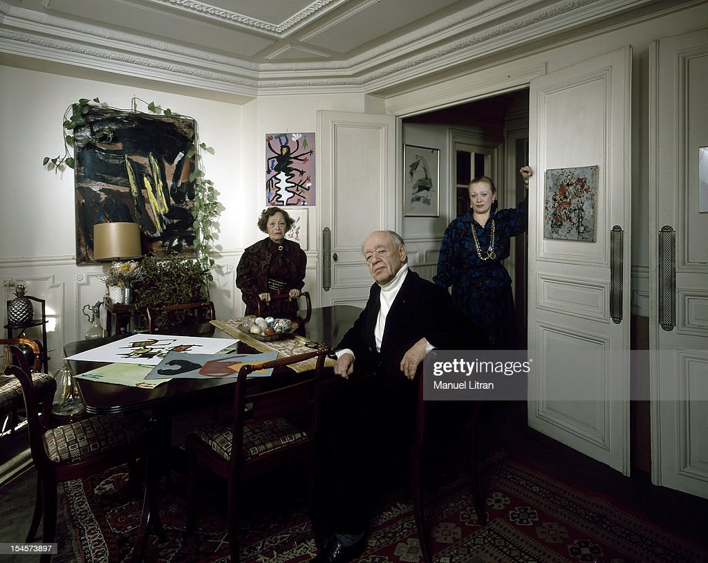 Eugene Ionesco In The Dining Room Of His Apartment Near Montparnasse With Wife Rodica