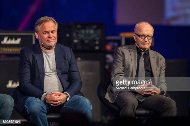 Eugene Kaspersky and Finn Kydland participate in a roundtable discussion during the Starmus Festival on June 21 2017 in Trondheim Norway